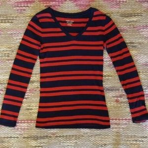 Merona Ultimate red & navy  long sleeve vneck